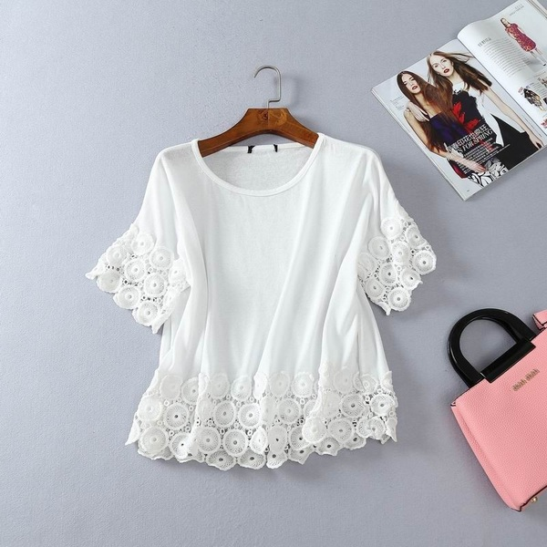 Must-have Vogue Attractive Plus Size Short Sleeves Lace Summer T-shirt Lace Top - beenono.com