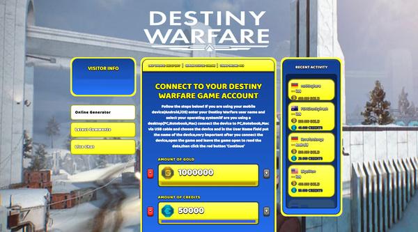 Destiny Warfare Hack Cheat Generator Gold and Credits