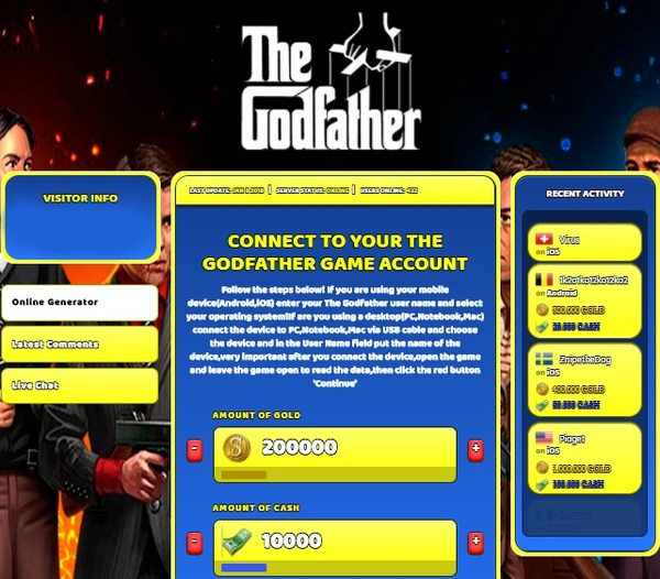 The Godfather Hack Cheat generator Gold and Cash Unlimited